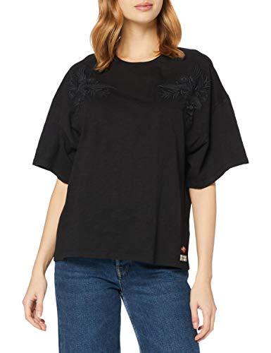 Superdry Womens Crafted Folk EMB Tee T-Shirt, Black, 10