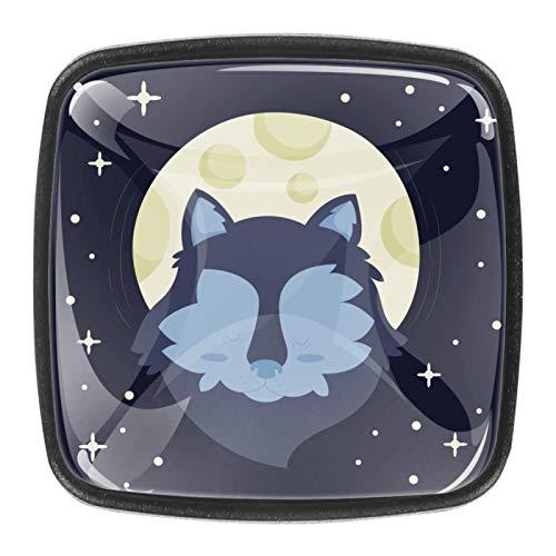 4 pomos de cristal para puerta de armario y cajón, diseño de lobo, galaxia, luna, estrellas