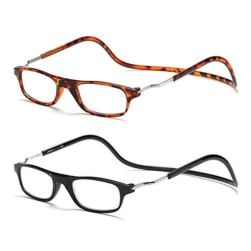 Accurate 2 pares de gafas de conexión frontal Gafas de lectura magnéticas Lectores (Negro y leopardo, 2.25X)