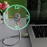 ONXE USB LED Clock Fan with Real Time Display Function,USB Clock Fans,Silver,1 Year Warranty