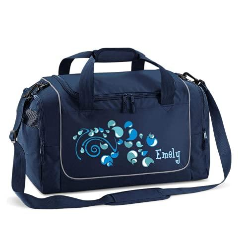 Mein Zwergenland Sporttasche Kinder personalisierbar 38L , Kindersporttasche mit Name und Tropfen Bedruckt in French Navy Blau