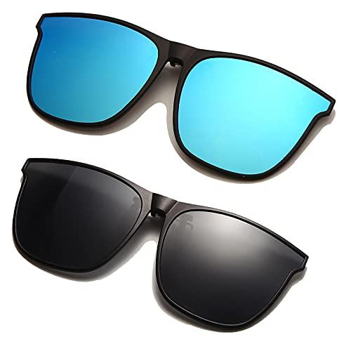 Long Keeper Gafas de sol Polarizadas Clip Lentes Protección UV400 Hombre Mujer- Elegantes y cómodos Clip Gafas de sol para exterior / conducción / pesca (Gris + Azul)