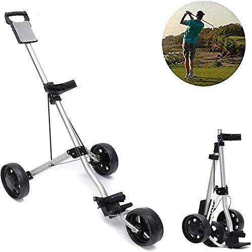 Golf Push Cart 3 Roues, Chariot de Golf Chariot avec Frein Voiturette Frein à Pied et Une Seconde Carte de pointage pour Ouvrir et Fermer réglable Carry Facile et Fold
