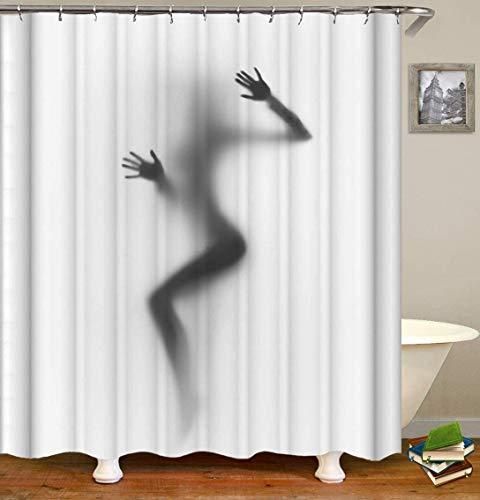 lovedomi Figura Encantadora Cortina Ducha Especial para Hombres Sexy Belleza Desnuda Proporciones corporales Silueta Sombra Serie temática Simple hogar Lujo Cortina Ducha Impermeable