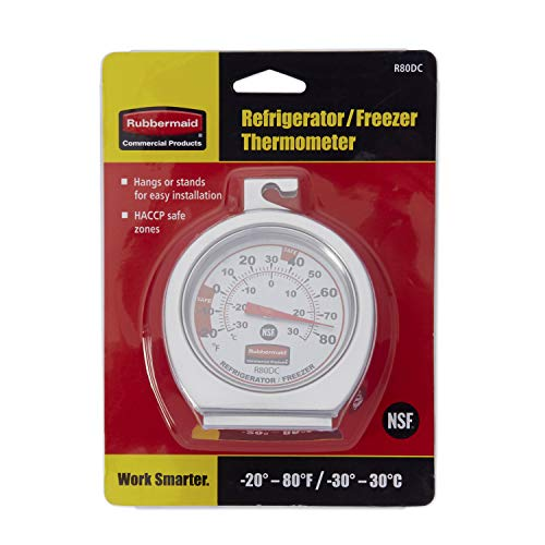 Rubbermaid Commercial Refrigerator/Freezer Thermometer, Stainless Steel, FGR80DC