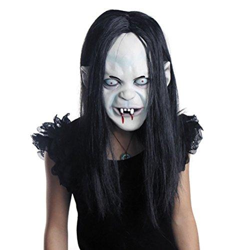 LUOEM Halloween Horror Grimace Ghost Mask Peluca de Pelo Largo resentimiento Sadako Ghost Peluca Espeluznante mscara de Disfraces de Miedo para Halloween Party Supply