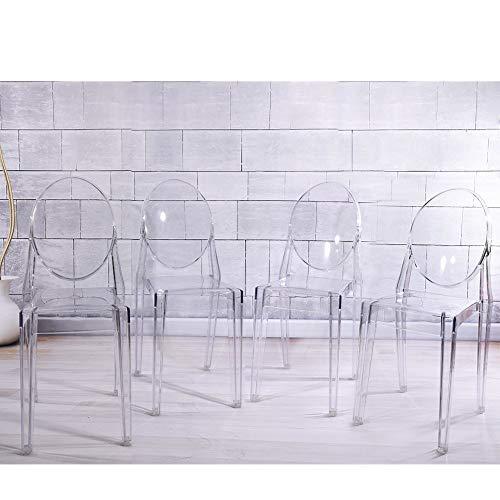 Panana, 4 sedie da pranzo in acrilico trasparente in stile Ghost