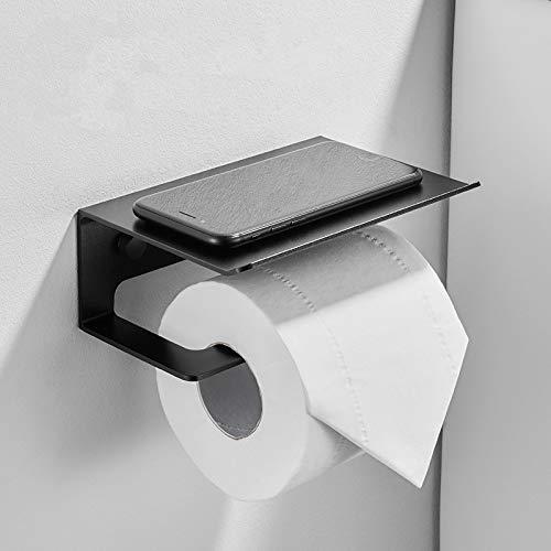 MYSdd An der Wand montierter Toilettenpapierhalter Handy-Aufbewahrungshalter schwarz ohne Loch Wand zu Hause Badezimmer Toilettenpapierrolle Pappregal Schubladenfach