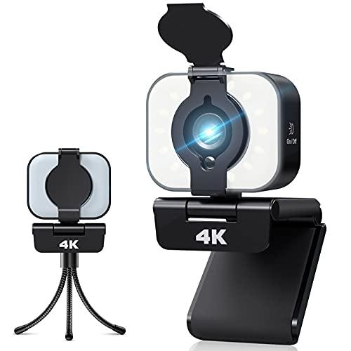 Webcam 4K avec Microphone, Webcam pour PC avec Anneau Lumineux et Couvercle, Plug et Play, Webcam pour Diffusion en Direct, Chat Vidéo, Télétravail, Compatible avec Windows, Mac et Android