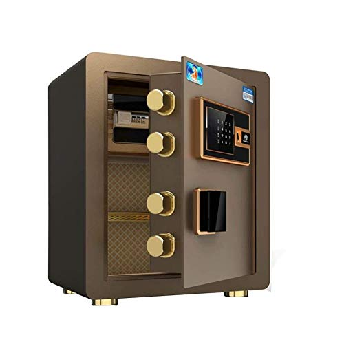 GGDJFN Digital Safe Box With Keys, Waterproof Wall Mounted Strong Steel Safe Security Box For ID, A4 Paper Documents, Laptop Computers, Jewels, XX Large (Color : Brown, Size : P-43 * 35 * 23cm)