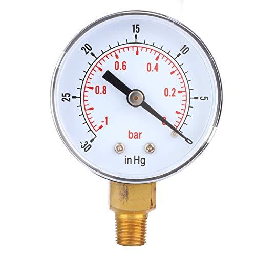 Indicador de vacío de aceite, indicador de vacío -1-0Bar -30-0inHg 50 mm 1/8 BSPT Conexión inferior para aire, agua, aceite o gas