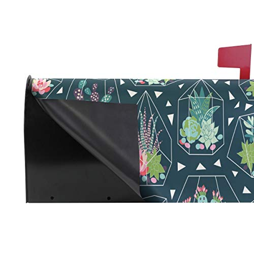 Wamika Sukkulenten Kaktus-Glas-Welcome-Briefkasten-Abdeckung für Briefkasten, grüne Tropische Pflanze, Standard-Größe, Makover Mailwrap Garten Home Decor - 4