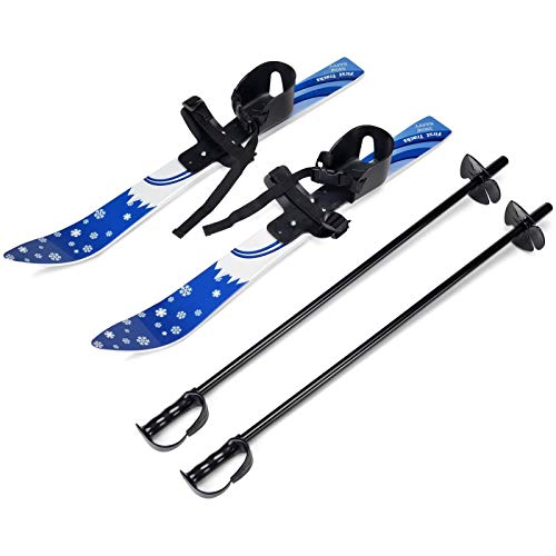 Kid's Beginner Snow Skis And Poles with Bindings, Low-Resistant Ski Boards for Age 3 To 10, Lightweight Sturdy And Safe Kids Skiing Equipment, Crosscountry Skiis for Kids Toddler Skis Plastic,Blue
