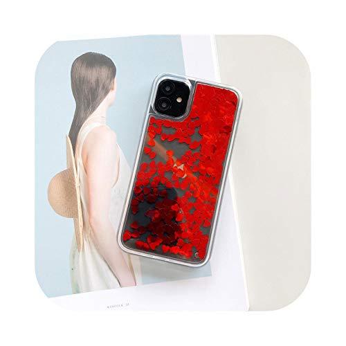 Funda para iPhone 11, con purpurina Quicksand para iPhone 11 Pro Max X XR XS Se 2020 6 6S 7 8 Plus bonito amor corazón lentejuelas rojo