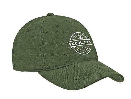 Koloa Surf Thruster Logo Classic Cotton Dad Hat-Olive/White