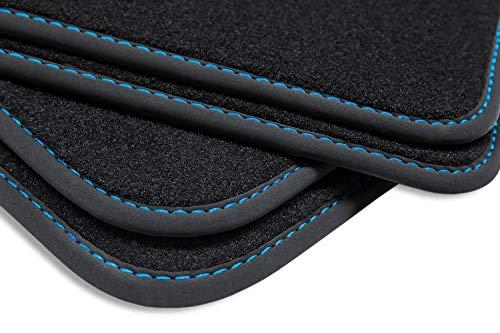 teileplus24 BGF563 Ganzjahres-Fußmatten, Oberseite aus dichtem Velours, wasserundurchlässige Gummi-Rückseite, Nubuk Bandeinfassung, Original Befestigungssystem, Ziernähte, Naht:Blau