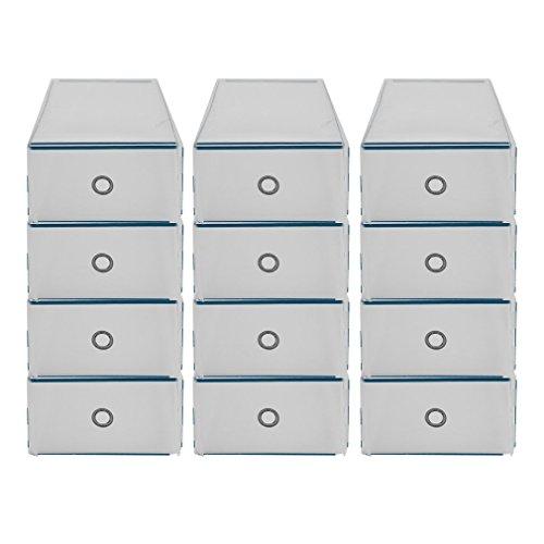 Homgrace 12 Cajas para Zapatos Transparente Plástico, Caja Guardar Zapatos, Calcetines, Juguetes, Cinturones para la organización de su hogar, Oficina