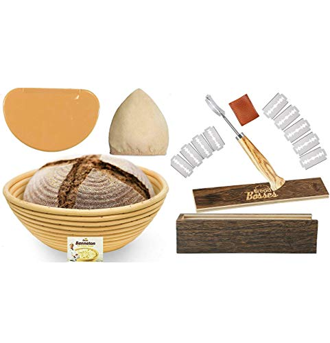 Bread Bosses Bread Bakers Lame Slashing Tool and 9 Inch Banneton Proofing Basket- Great as a Gift