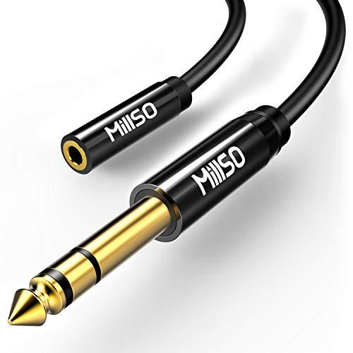 MillSO 3.5 Klinken Adapter Kabel 6,35mm Klinken Stecker zu 3,5mm Klinken Buchse mit Piano Schwarz Metalgehäuse für Bassverstärker, Leistungsverstärker, Elektronische Tastatur, Audiomischer- 30cm