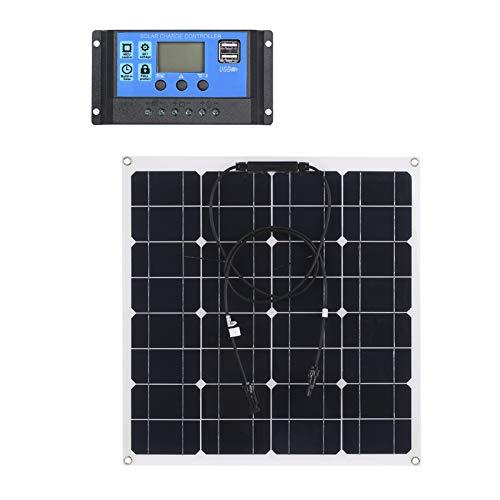 Lixada 50W Panel Solar Monocristalino IP65 Resistencia con Controlador de Carga Solar PWM Regulador Inteligente para Campers, Autocaravanas, Placa Solar Autoconsumo - Portátil, Ligero y Resistente