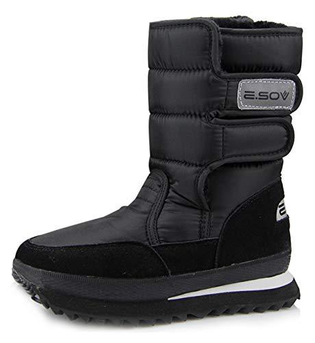 AARDIMI Buty śniegowe dla kobiet, płaskie pięty, rozmiar plus, damskie buty zimowe, wodoszczelne, damskie sztyblety wodoszczelne, czarny, 38 EU
