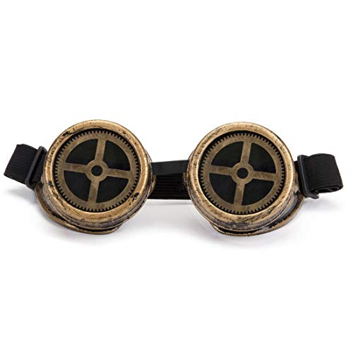 Retro Steampunk Goggles, Spot Vintage Pilot Style Cruiser Scooter Cool & Safety Steampunk WEDING Goggles BEST for Halloween Cosplay or Hobby Collection