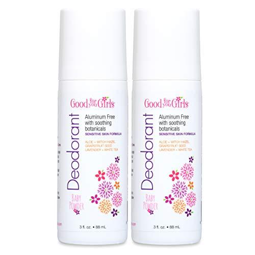 2 Pack - Good For You Girls Aluminum Free Natural Deodorant, Kids, Teens, Vegan, Gluten Free, 3 fl. oz (Baby Powder)