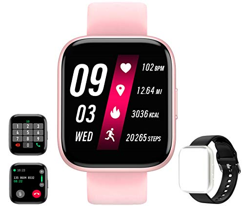 Smart Watch Receive/Make Call,Fitness Tracker with 1.54'' Full Touch Life Water-Resistant SpO2 Heart Rate Sleep Monitor,Step/Calorie,Bluetooth Call Smart Watch for Women Men Android iOS Phone (Pink)