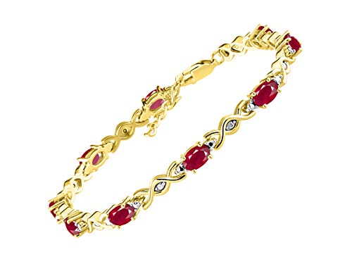 RYLOS Spectacular Tennis Bracelet Set With Red Ruby & Diamonds - July Birthstone