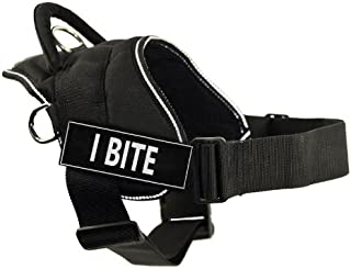 DT Fun Harness, I Bite, Black with Reflective Trim, X-Small - Fits Girth Size: 20-Inch to 23-Inch