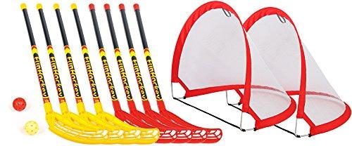 Onbekend Funhockey complete set met 4 x 2-delige set rackets en pop-up tor-maxi-set compleet met 8 speelballen en poorten, afmetingen 80 x 60 x 60 cm