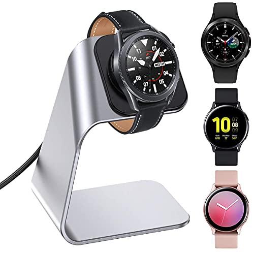 KIMILAR Cargador Compatible con Samsung Galaxy Watch 4/Galaxy Watch 4 Classic/Galaxy Watch 3/Galaxy Active/Active 2 Base de Carga, Aluminio Reemplazo USB Cargador Cable para Galaxy Watch (Plata)