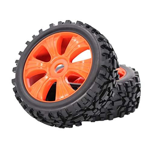 chiwanji RC 1/8 Scale Buggy RC Neumáticos Neumáticos Ruedas 2 Piezas Ruedas de Buje de Ventilador - Naranja