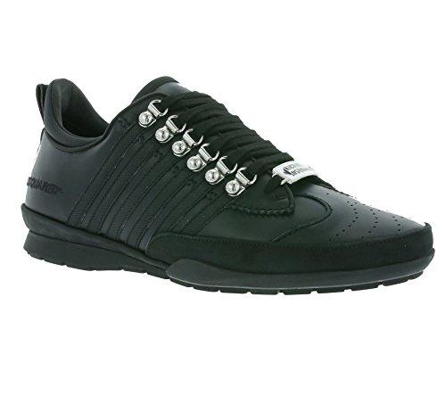 Dsquared2 scarpe sneakers uomo in pelle nuove 251 nero