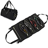 Westspark Roll Up Tool Bag, Multi-Purpose Tool Roll Bags Canvas Wrench Organizer Hanging Pouch Tote Carrier Bag with 5 Zipper Pockets for Electrician HVAC Mechanic