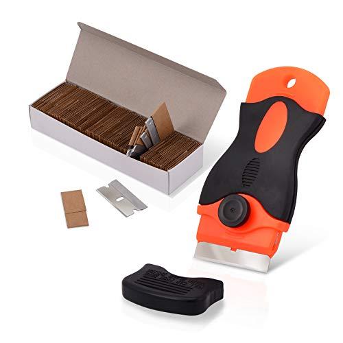 """Ehdis 1,5\"""" Mini-Rasiermesser Schaber mit 100PCS Carbon Steel Single Edge-Rasierklingen für das Entfernen Kleber, Registrierung, Farbe, Abziehbilder"""