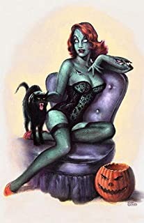 Monsterman Graphic 3 Sizes Zombie Pin-Up Girl Poster Print Vintage Halloween Horror Living Dead by Scott Jackson (11 x 17 inches)