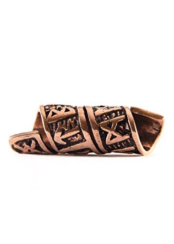 Battle-Merchant Bartperle Wikinger/Dreadlockperle aus Bronze mit Runen und Spiralmuster Ø 6mm