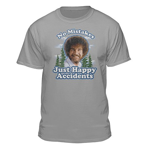 Bob Ross No Mistakes/Positive Vibes T-Shirts - Grau - XX-Large