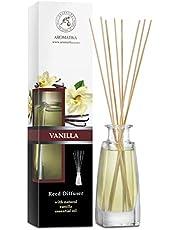 Diffuseur Parfum de Vanille 100ml - Naturel Fragrance Fraîche et Durable - Kit Diffuseur Cadeau avec 8 Bâtonnets de Bambou - sans Alcool - Meilleur pour Aromathérapie
