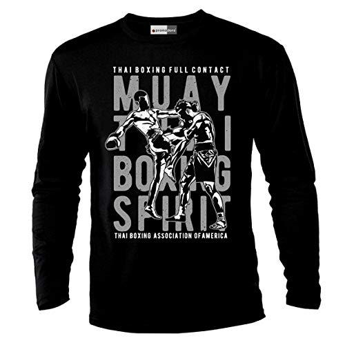 Muay Thai Judo Martial Arts MMA UFC Boxing T-shirt à manches longues - Noir - XXX-Large