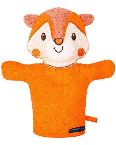 Morgenstern Kinder Waschhandschuh Frottee Handpuppe orange mit Tiermotiv Fuchs