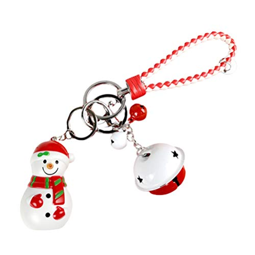 Amosfun Weihnachten Schlüsselanhänger Schneemann Jingle Glocke Schlüsselring Sound Und Glow Geldbörse Handtasche Charme für Weihnachten Urlaub Party Gunst Tasche Füller