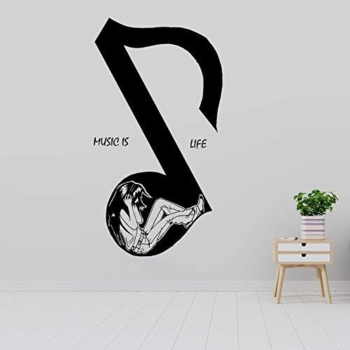 Música música es vida nota disco de fonógrafo de pared jazz life vinilo etiqueta de la pared