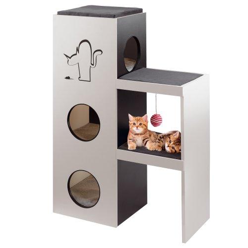 Ferplast 74059021 Katzenmöbel Napoleon, aus Holz und mit Kratzfläche, Maße: 40 x 78,5 x 115 cm