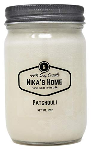 Nika's Home Patchouli Soy Candle - 12oz Mason Jar
