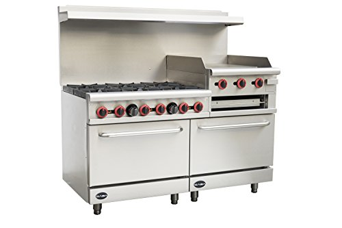 Heavy Duty Commercial 60' Gas 6 Burner Range with 24' Gas Griddle, Broiler & Bottom Oven