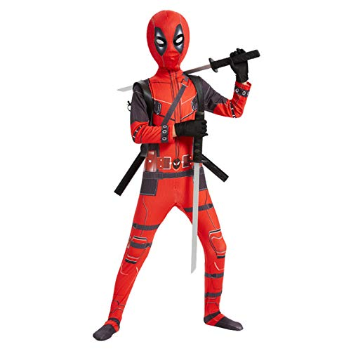 Avengers Deadpool Kostüme 3D-Druck Cosplay Jumpsuit Halloween Karneval Superheld Bodysuit mit Gummi PU Doppelschwert und Rucksack (140~150cm)