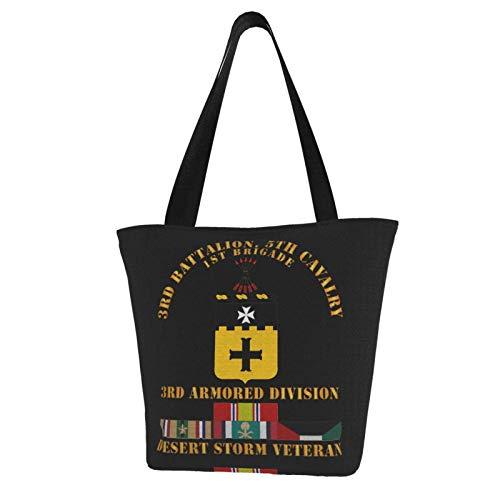 3rd Bn, 5th Caballería - 3rd Blinded Div - Desert Veteran Durable con bolsa de hombro de gran capacidad
