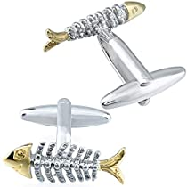 カフスボタン おもしろ魚の骨メンズおもしろギフト 人気パーテ...